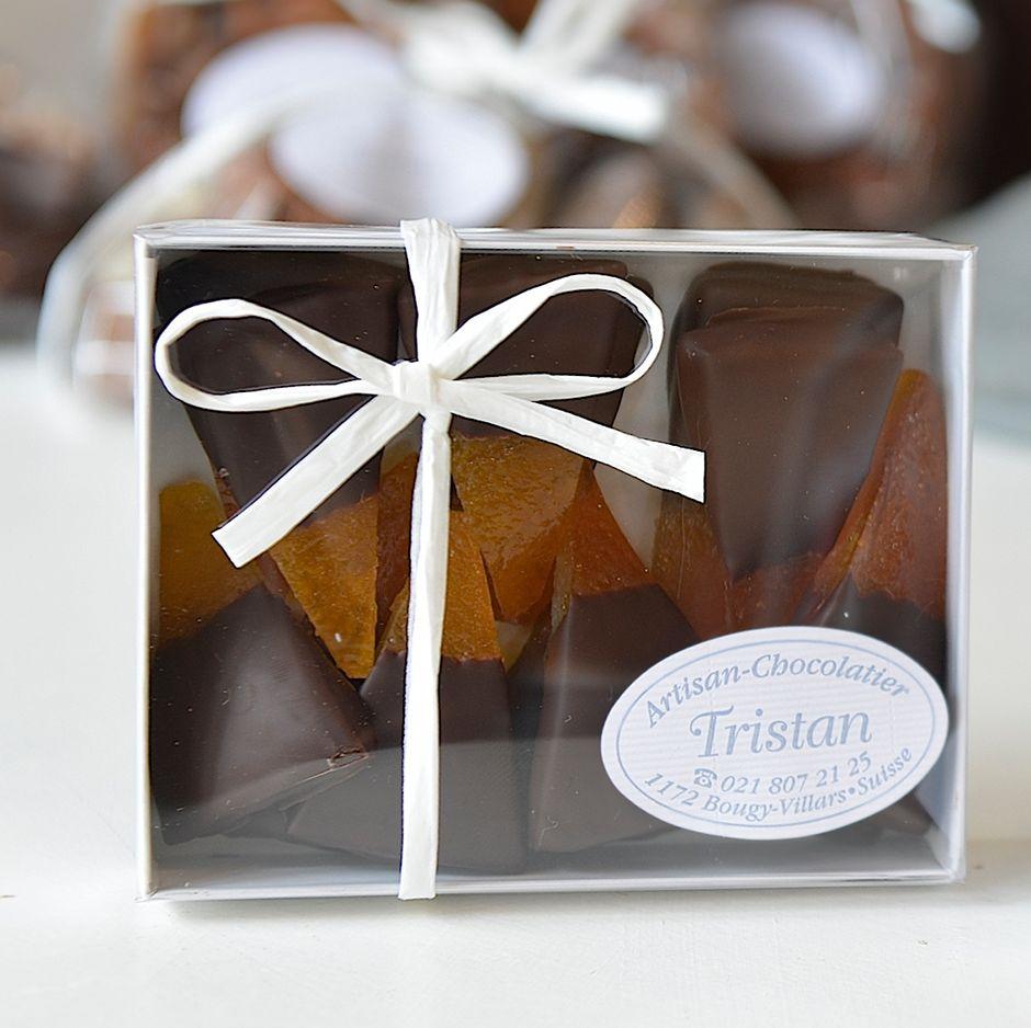 Boite Oranges confites Sicile Chocolat noir 79% Tristan Chocolatier Suisse