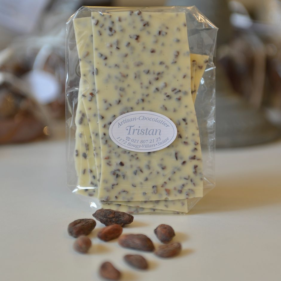 Feuillantine Chocolat blanc Fève Tristan Chocolatier Suisse