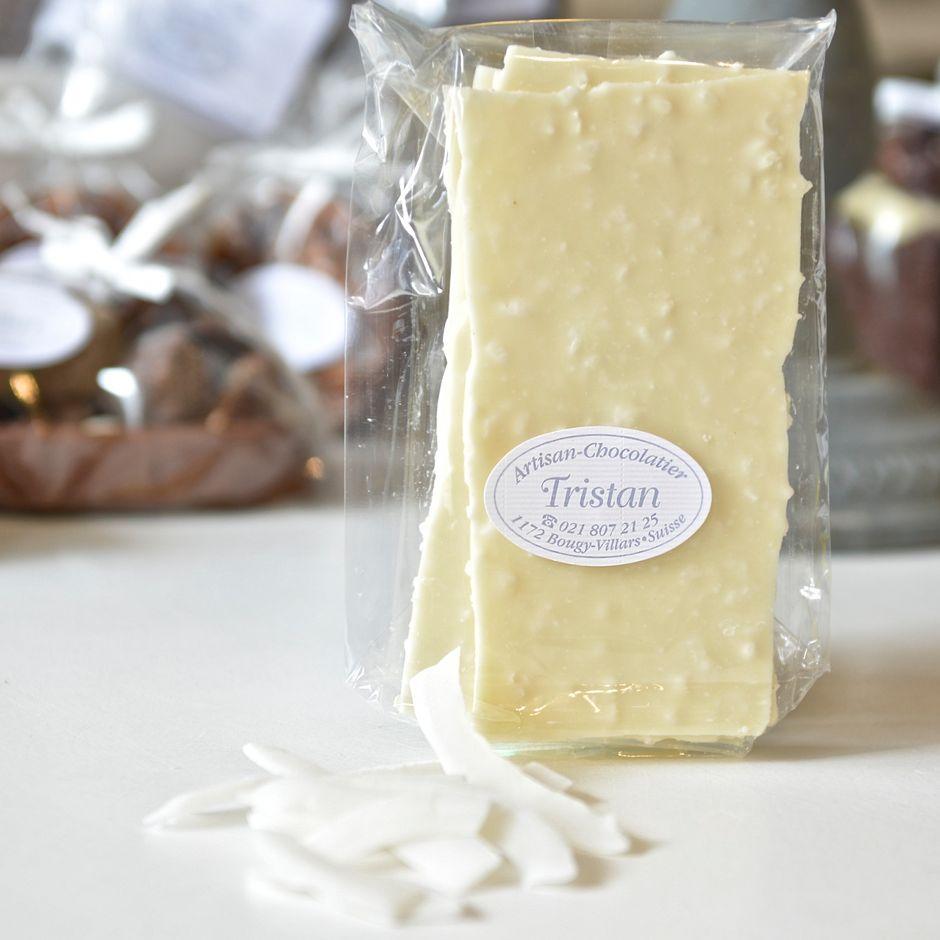 Feuillantine Chocolat blanc Noix de coco Tristan Chocolatier Suisse