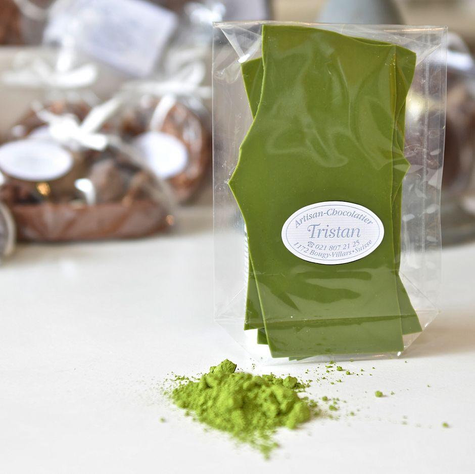 Feuillantine Chocolat blanc au Thé vert Tristan Chocolatier Suisse