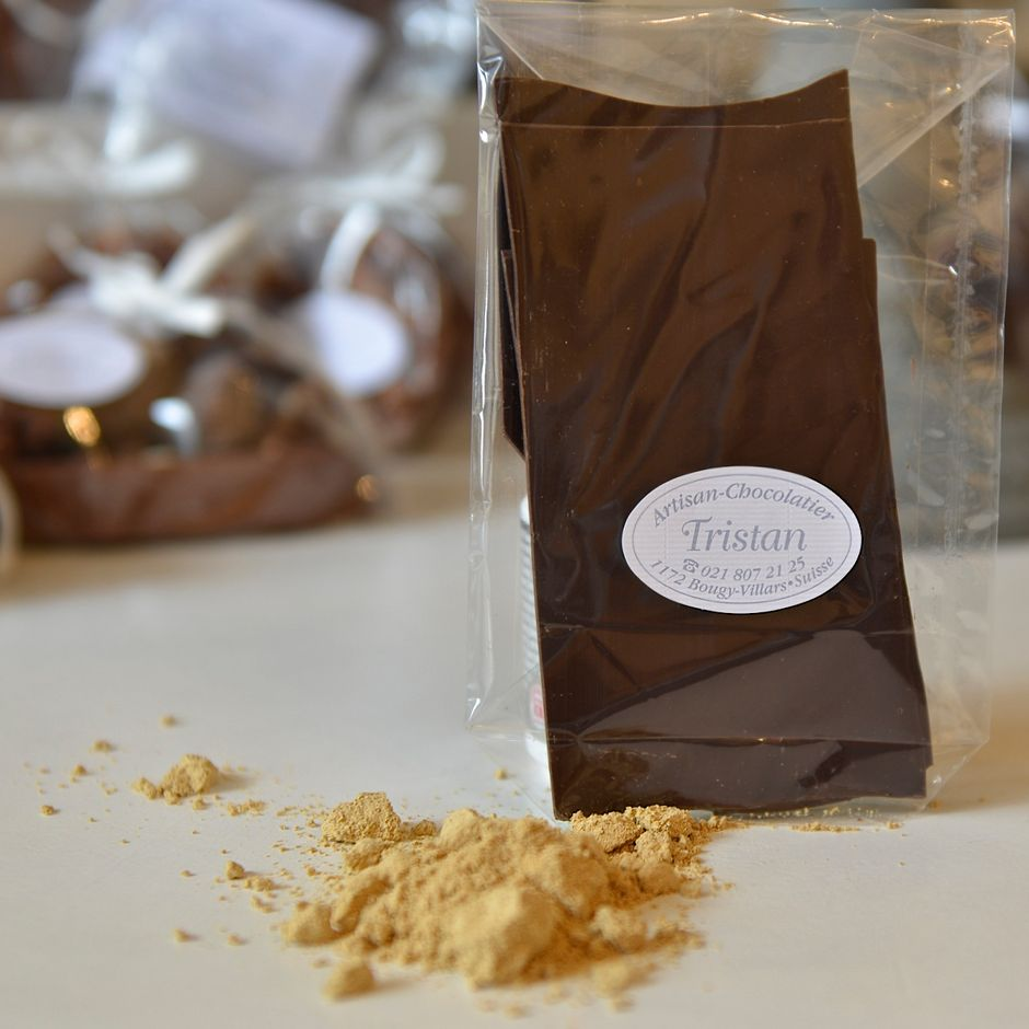 Feuillantine Chocolat noir 54% Gingembre Tristan Chocolatier Suisse