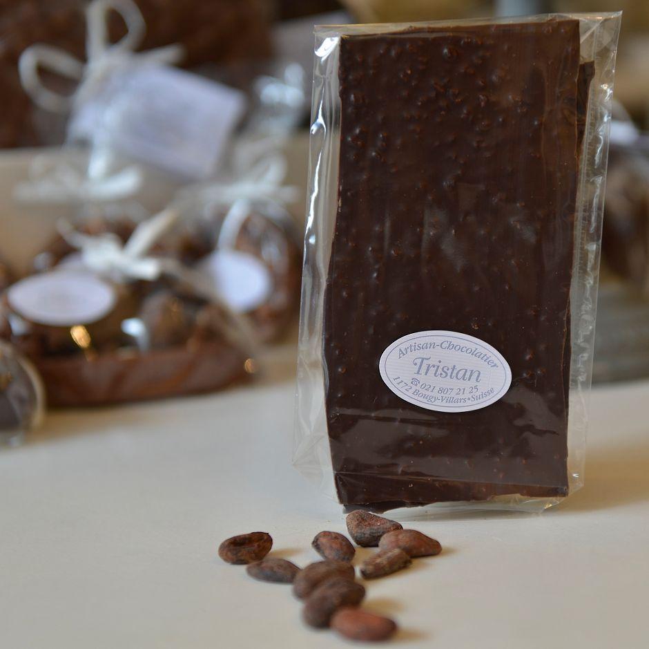Feuillantine Chocolat noir 79% Fève Tristan Chocolatier Suisse