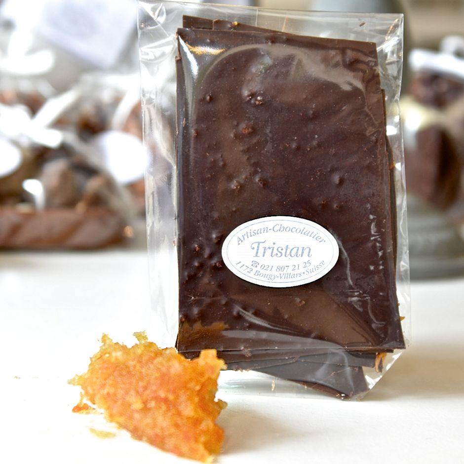 Feuillantine Chocolat noir 79 % Orange Tristan Chocolatier Suisse
