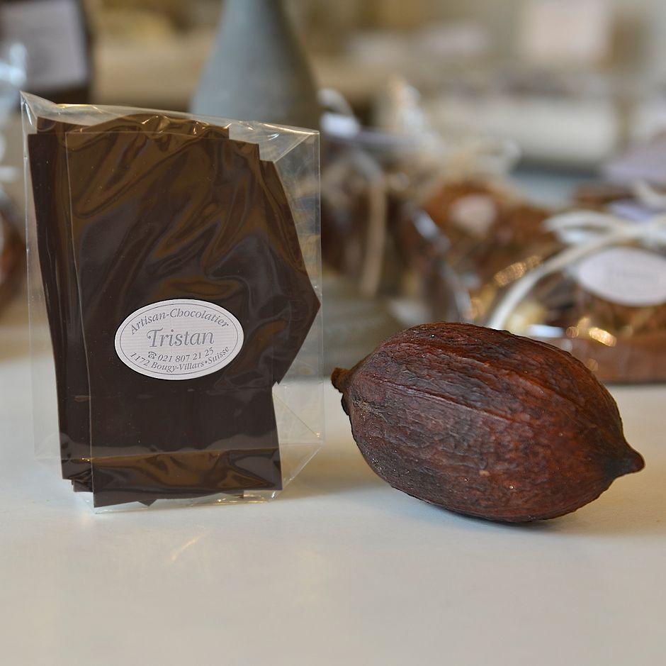 Feuillantine Chocolat noir nature 99% Tristan Chocolatier Suisse
