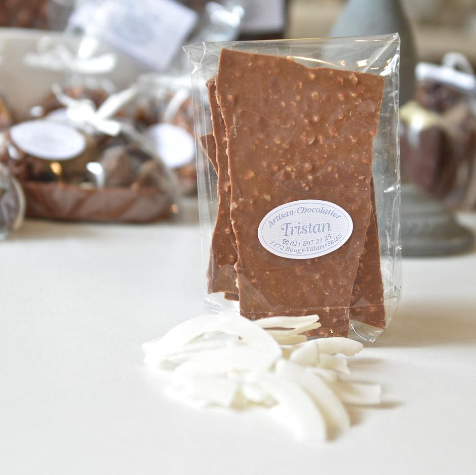 Feuillantine Chocolat lait Noix de coco Tristan Chocolatier Suisse