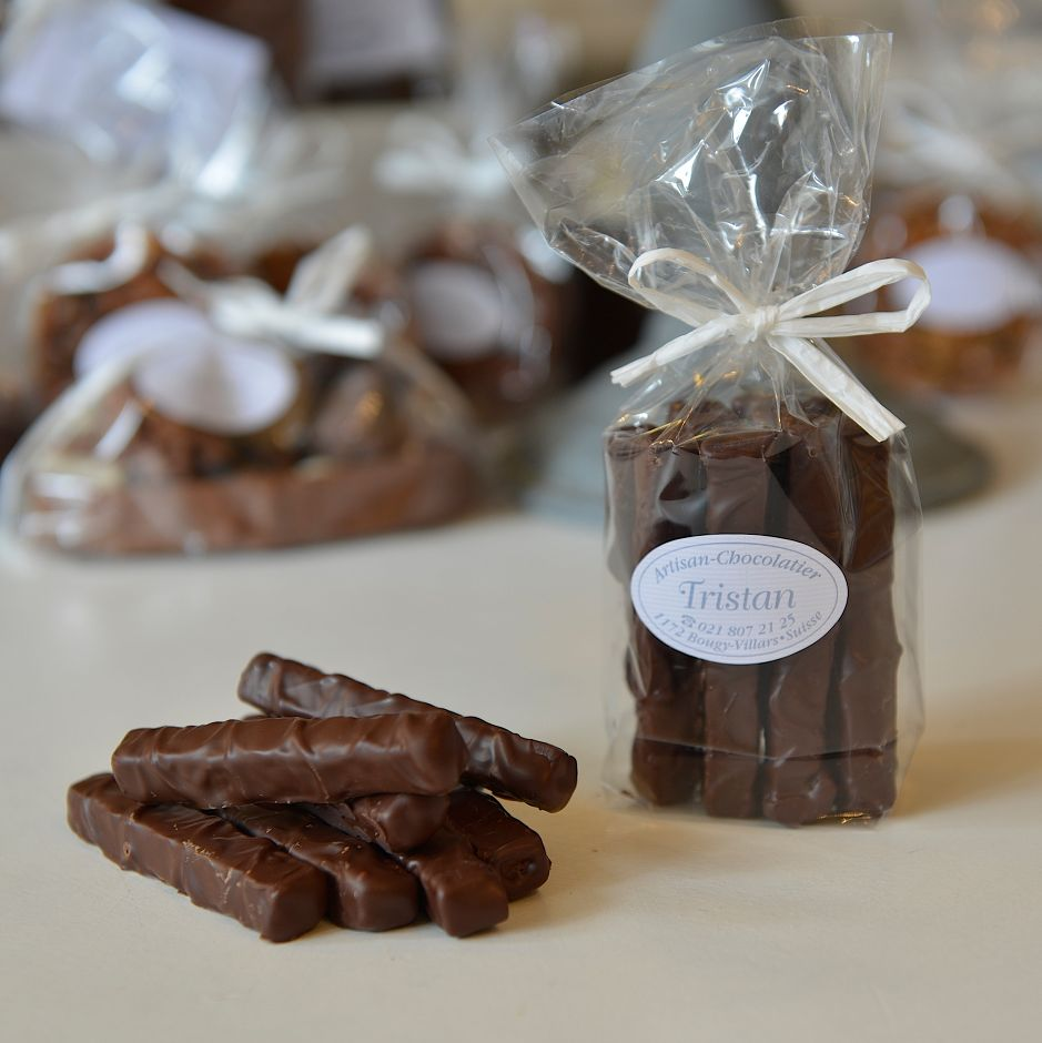 Fondantines Noir 54% praliné Tristan Chocolatier Suisse