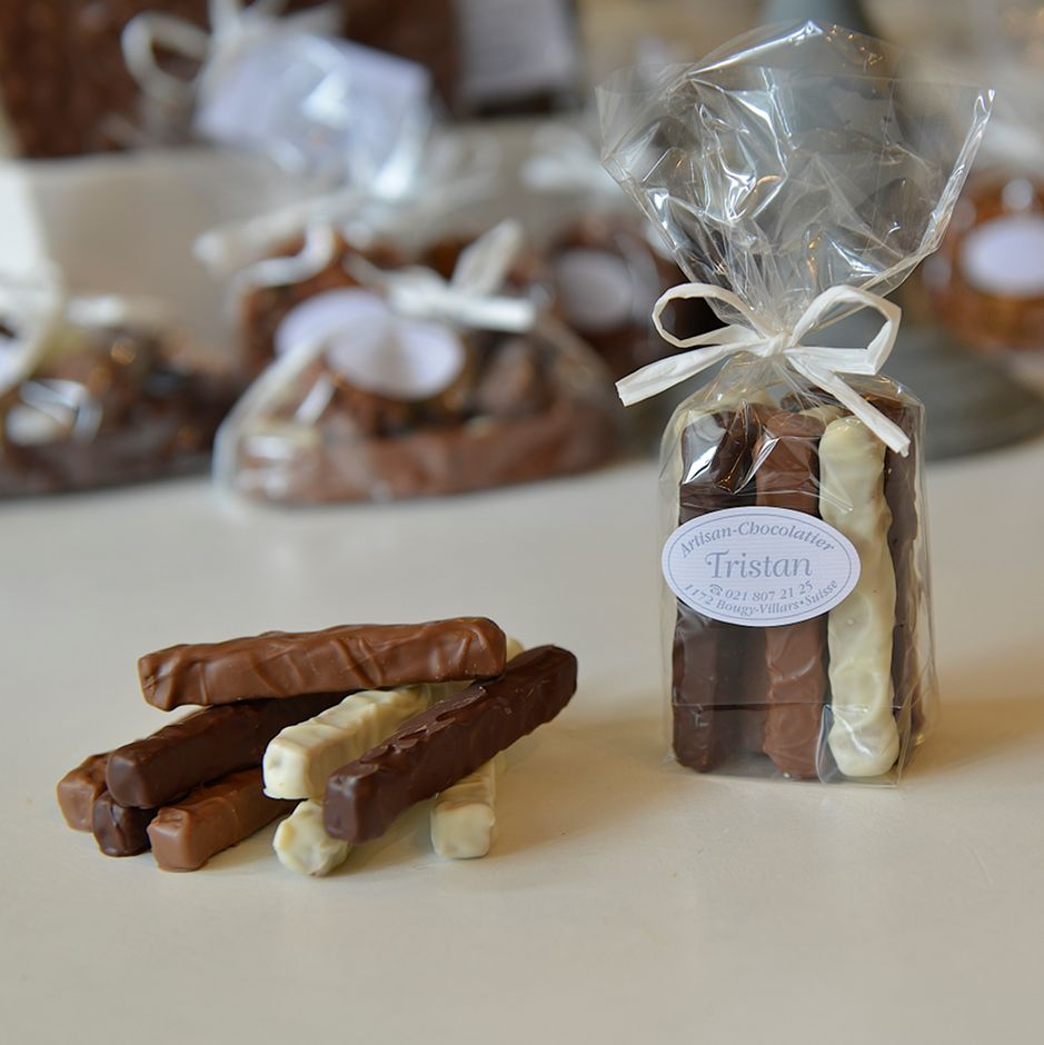 Mélange de Fondantine Lait Blanc Noir 54% praliné Tristan Chocolatier Suisse