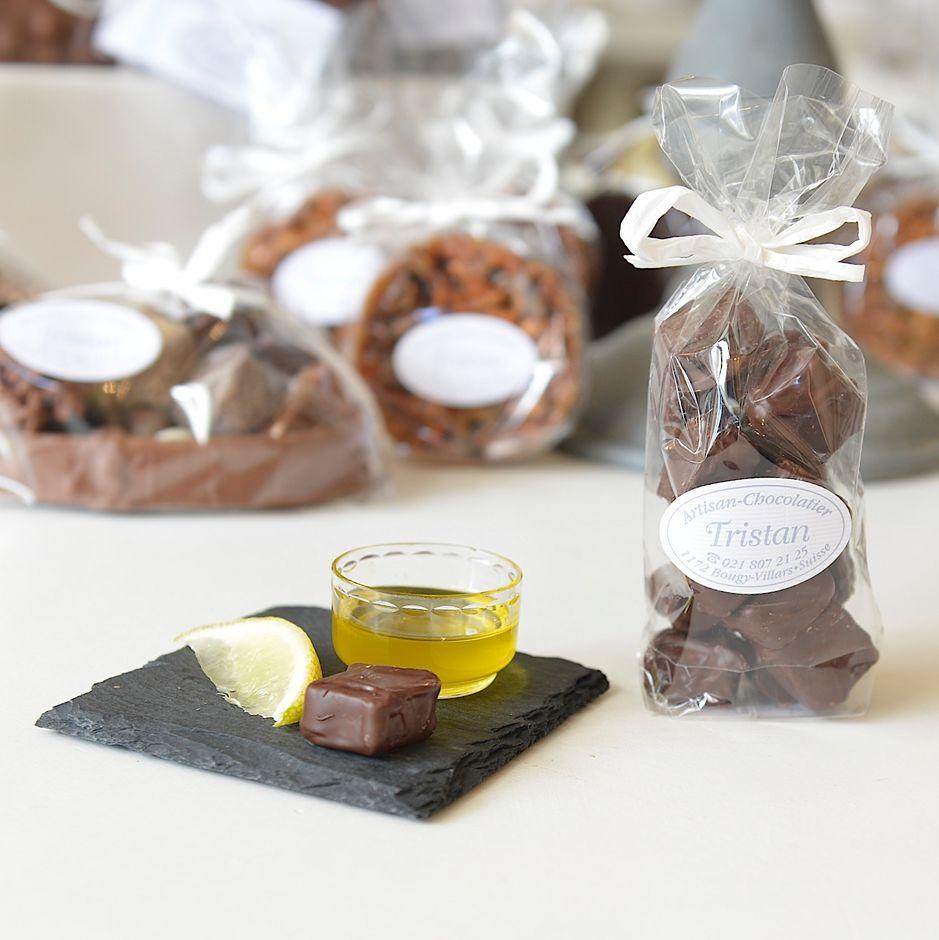 Olivette citron Chocolat noir 54% Tristan Chocolatier Suisse