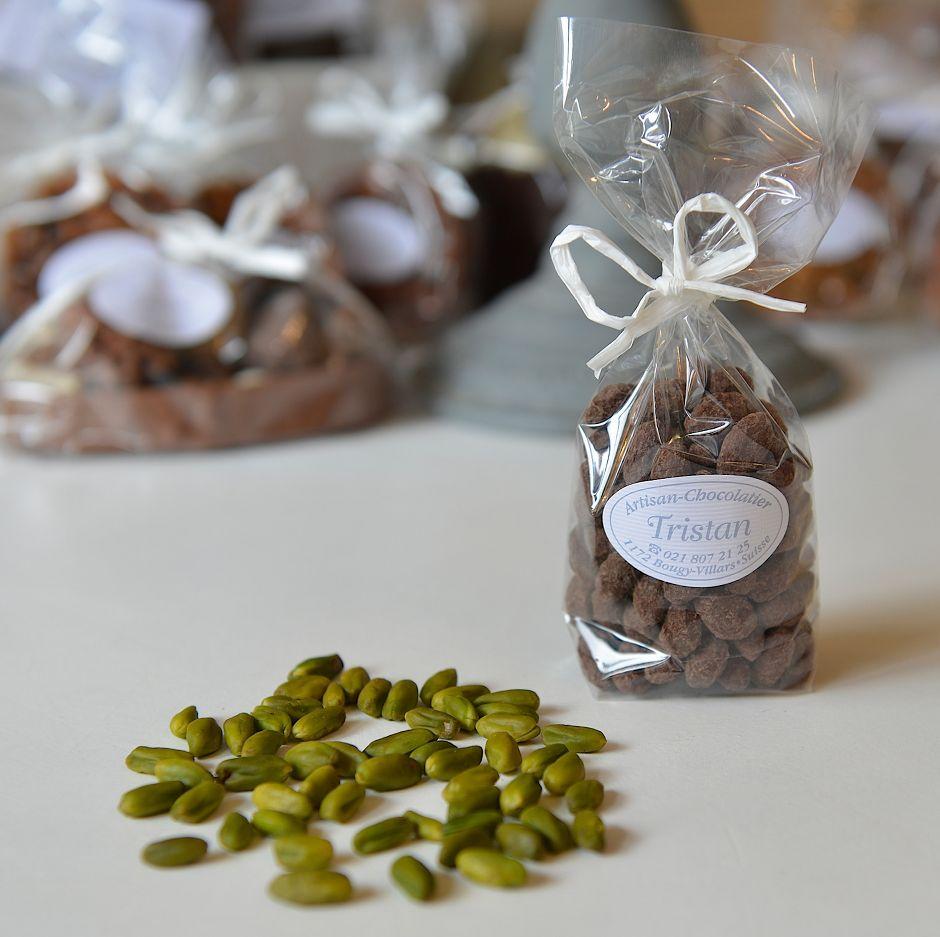 Pistaches enrobées, chocolat noir 54 % Tristan Chocolatier Suisse