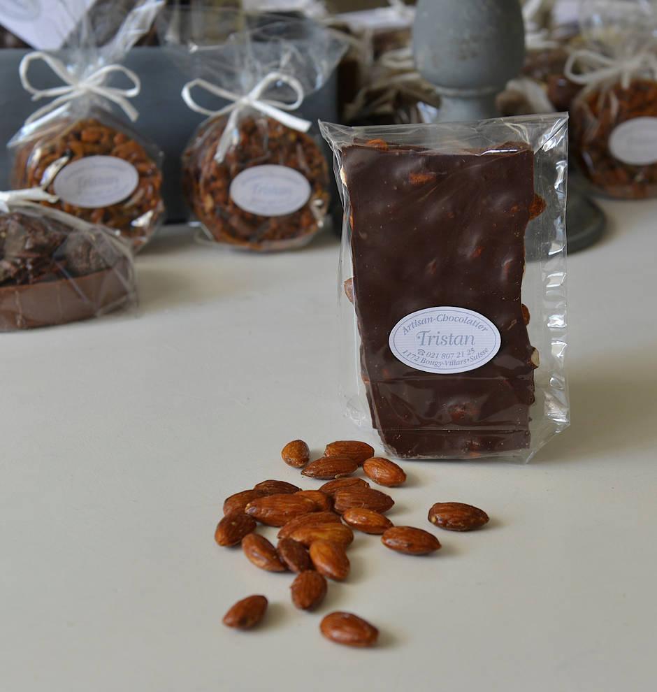 Plaque amande 54% cacao Tristan Chocolatier Suisse