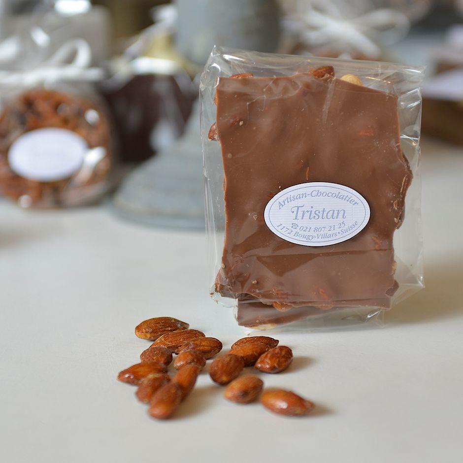 Plaque lait Amande Tristan Chocolatier Suisse