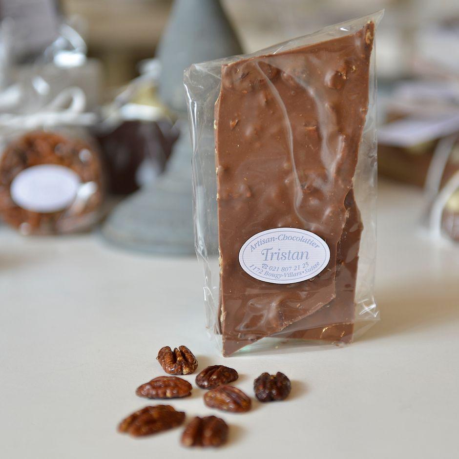 Plaque lait Noix de Pécan Tristan Chocolatier Suisse