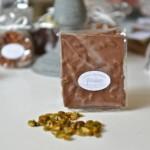 Plaque aux pistaches, chocolat lait