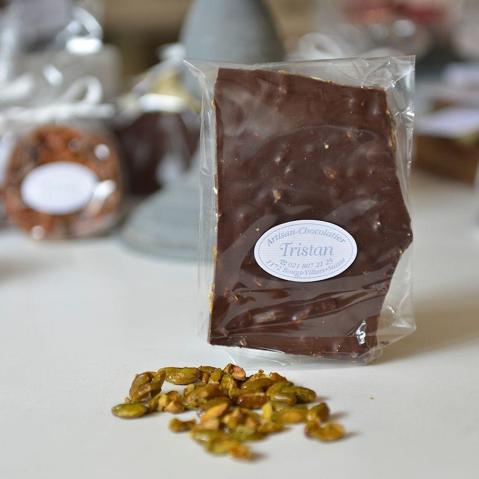 Plaque noir 54% Pistache Tristan Chocolatier Suisse