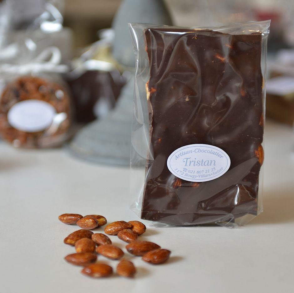 Plaque noir 65% Amande Tristan Chocolatier Suisse