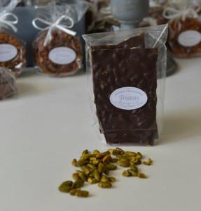 Plaque Pistache Chocolat Noir 65% Tristan Chocolatier Suisse
