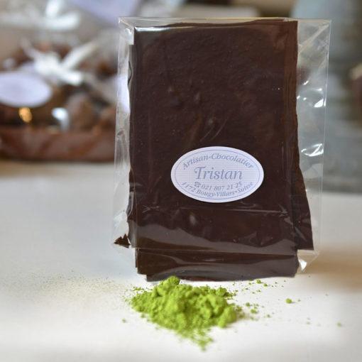 Feuillantine Chocolat Noir au Thé vert Tristan Chocolatier Suisse